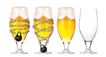 alcohol abuse: alcohol abuse concept - background with beer locked on a chain  isolated