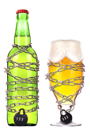 alcohol abuse concept - background with beer locked on a chain  isolated Stock Photo - 16959114