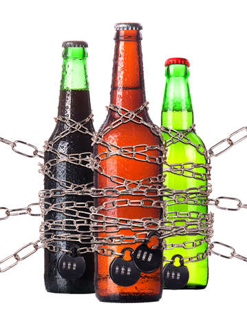 alcohol abuse concept - background with beer locked on a chain  isolated Stock Photo - 16976483