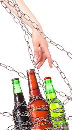 no alcohol: alcohol abuse concept - background with beer  wrapped on a chain  isolated
