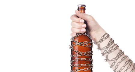 alcohol abuse concept - background with beer locked on a chain  isolated Stock Photo - 16976478