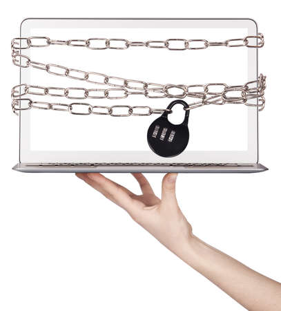 computer wrapped in chains security concept isolated photo