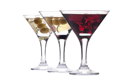 martini with olive and ice set - fresh cocktail isolated on a white background photo