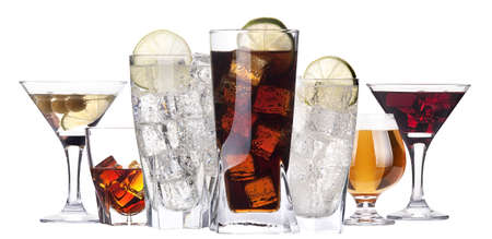 different images of alcohol isolated - beer,martini,cola,whiskey,wine,juice