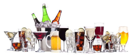 beer bucket: different images of alcohol set isolated - beer,martini,cola,champagne,wine,whiskey,juice