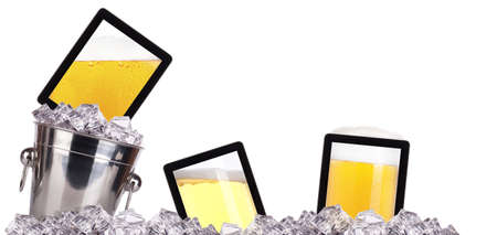 computer-beer concept background isolated on a white Stock Photo - 17050268