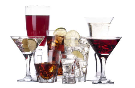 different images of alcohol isolated - martini,soda,whiskey,juice,wine photo