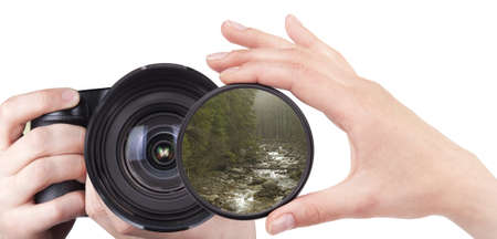 beautiful landscape throw camera filter isolated on a white Stock Photo - 17163384