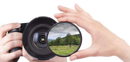 camera lens: prachtige landschap gooien camera filter geïsoleerd op een witte Stockfoto