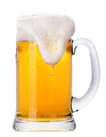 mug of ale: Frosty glass of light beer set isolated on a white background