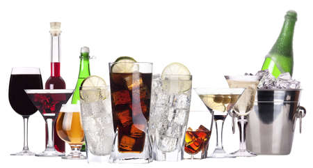 different images of alcohol isolated - beer,martini,soda,champagne,whiskey,wine photo