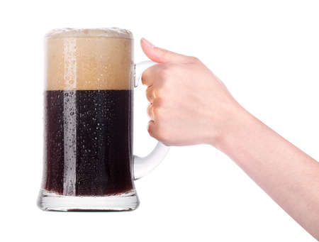 beer with hand making toast isolated on a white background photo