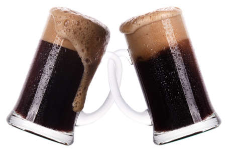 friendship concept  two glass of dark beer isolated on a white photo