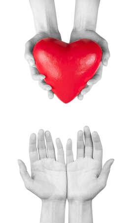 Ziektekostenverzekering of liefde concept geïsoleerd