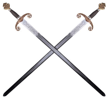 cross armed: Medieval sword isolated on white background