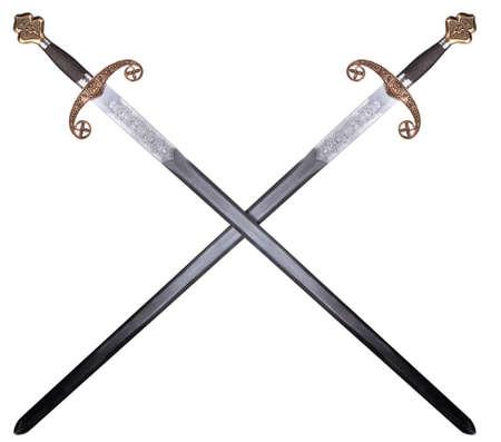 Middeleeuws zwaard geïsoleerd op witte achtergrond