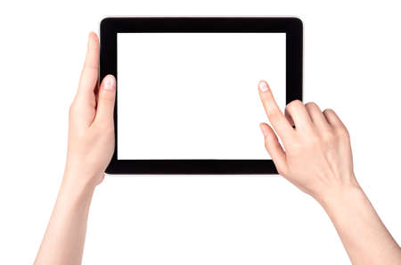 Touch screen tablet computer with hand isolated photo