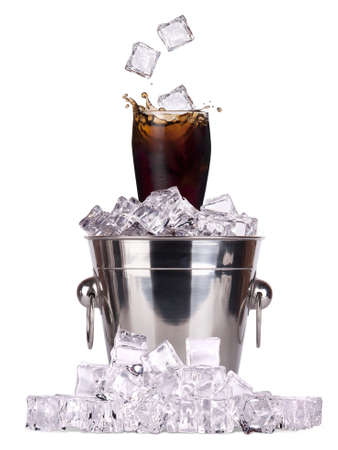 Fresh cola drink background with ice isolated photo