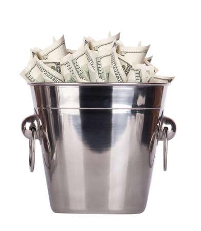 bucket of money: Bucket with money on white background Isolated Stock Photo