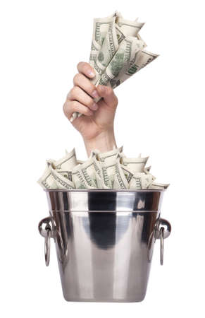 bucket of money: Bucket with money and hand on white background Isolated