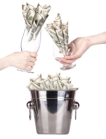 bucket of money: Bucket with money and hand making toast on white background Isolated