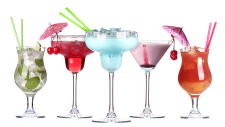 alcoholic cocktail set isolated on white background photo