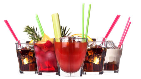 alcoholic cocktail set isolated on white background photo