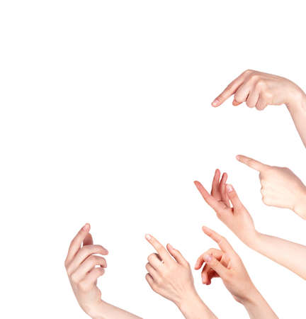 Hand finger pointing isolated on a white background Stock Photo - 18084756