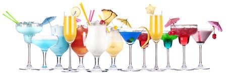 alcoholic cocktail set isolated on white background Stock Photo