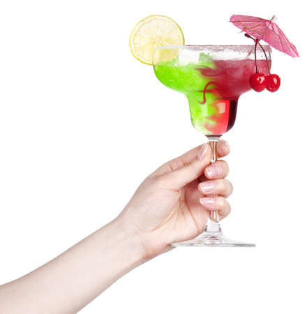 hand with alcohol cocktail making toast isolated on a white background photo