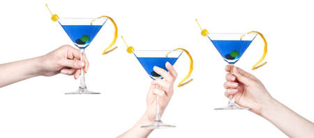 hand with alcohol cocktail making toast set isolated on a white background photo