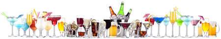 different images of alcohol isolated on a white background photo