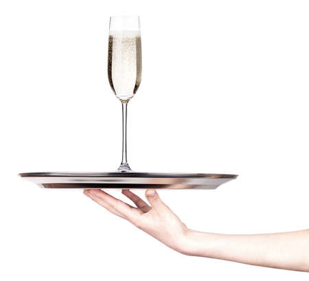 glass of champagne set isolated on a silver tray white background
