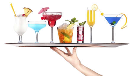 hand with tray full of alcohol drinks  celebration concept isolated Stock Photo - 18404680