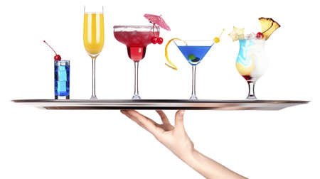 hand with tray full of alcohol drinks  celebration concept isolated Stock Photo - 18404604