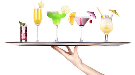 hand with tray full of alcohol drinks  celebration concept isolated Stock Photo - 18404606