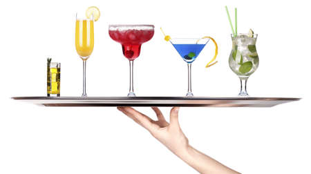 hand with tray full of alcohol drinks  celebration concept isolated Stock Photo - 18410390