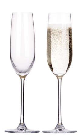 glas champagne set geïsoleerd op een witte achtergrond Stockfoto