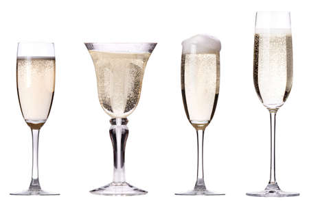 glass of champagne set isolated on a white background photo