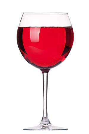glass of Red wine isolated on a white background photo