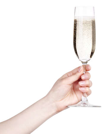 glass of champagne making toast on a  white background
