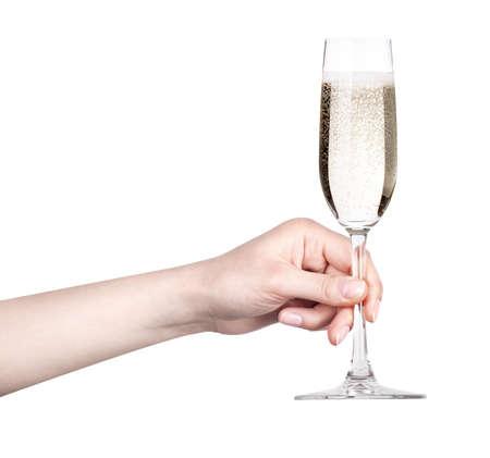 brindisi spumante: bicchiere di champagne toast su uno sfondo bianco