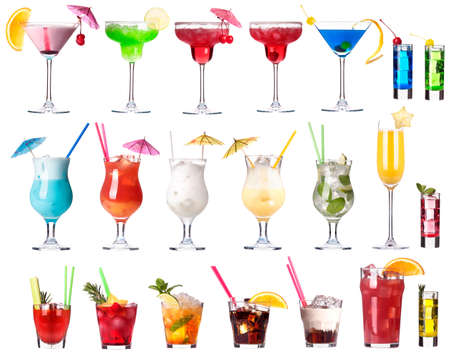 Set of alcoholic cocktails isolated on white background Stock Photo