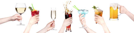 alcohol drinks set making toast  isolated on a white background photo