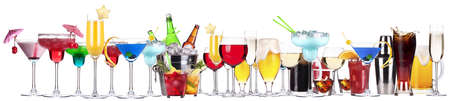 different alcohol drinks set -beer,cocktail,champagne,wine,cola,whiskey photo