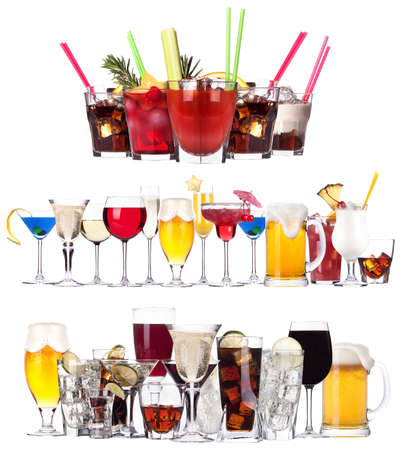 Set of different alcoholic drinks and cocktails - beer,martini,soda,champagne,whiskey,wine,cola,cocktail photo