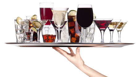 different alcohol drinks on a tray -cocktail,champagne,wine,whiskey,cola photo