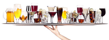 different alcohol drinks on a tray -beer,cocktail,champagne,wine,whiskey,cola photo
