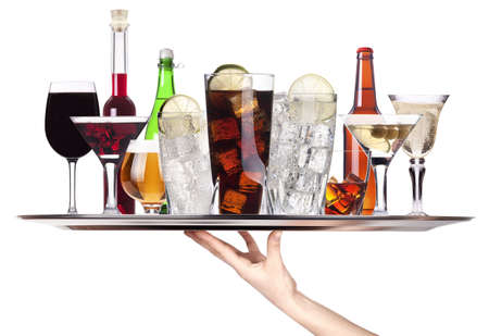 different alcohol drinks on a tray -beer,cocktail,champagne,wine,whiskey,cola