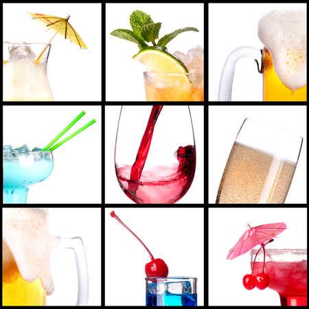 collage met alcohol cocktails - bier, martini, soda, cola, cocktail, wijn